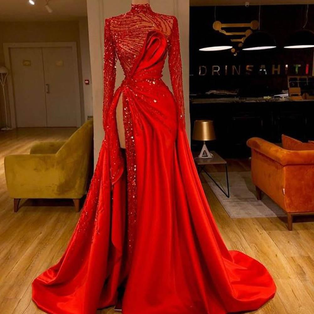 red prom dresses 2020 sparkly pleats evening dresses side slit formal dresses sequins evening dress