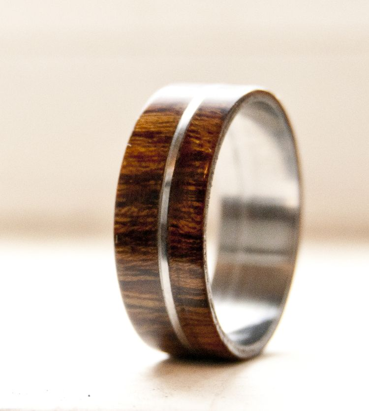 Men S Wood Wedding Band With Metal Inlay Available In Anium Silver Or