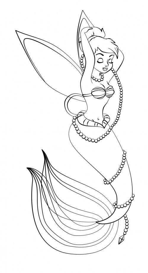 Tinker Bell Who Resemble Mermaids Coloring Page Fairy Coloring Pages Mermaid Coloring Princess Coloring Pages