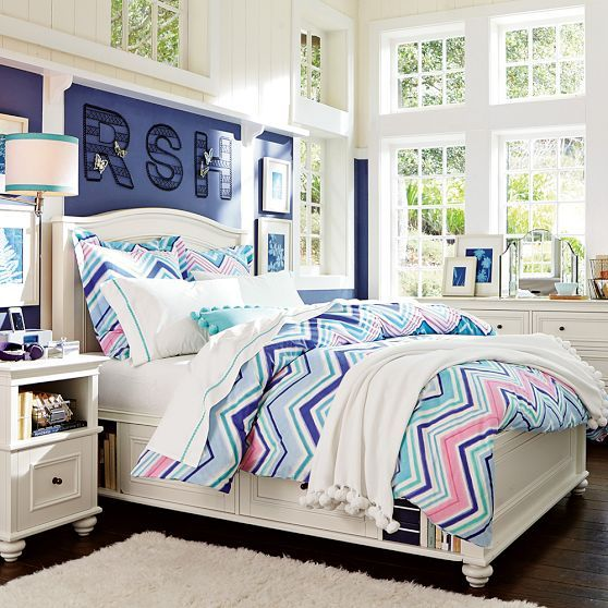 Bright Colorful Tween Bedroom: Zig N Zag Duvet Cover + Sham, Cool Multi // Bright Colors