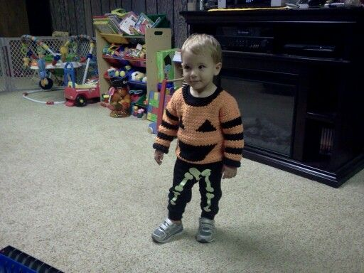 Sweater was originally made for my older grandson, Jaxson, but now Travis has it. Used pattern from Crochet World.