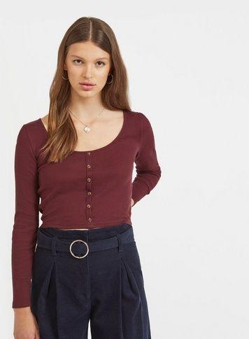 3053993b46318 Womens Burgundy Long Sleeve Button Through Top in 2019