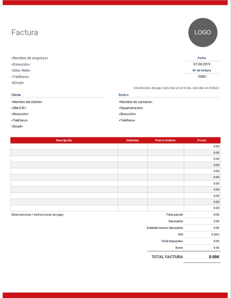 Plantilla De Factura En Word Descarga Gratis En Invoice Simple Receipt Template Lawyer Business Card Professional Templates
