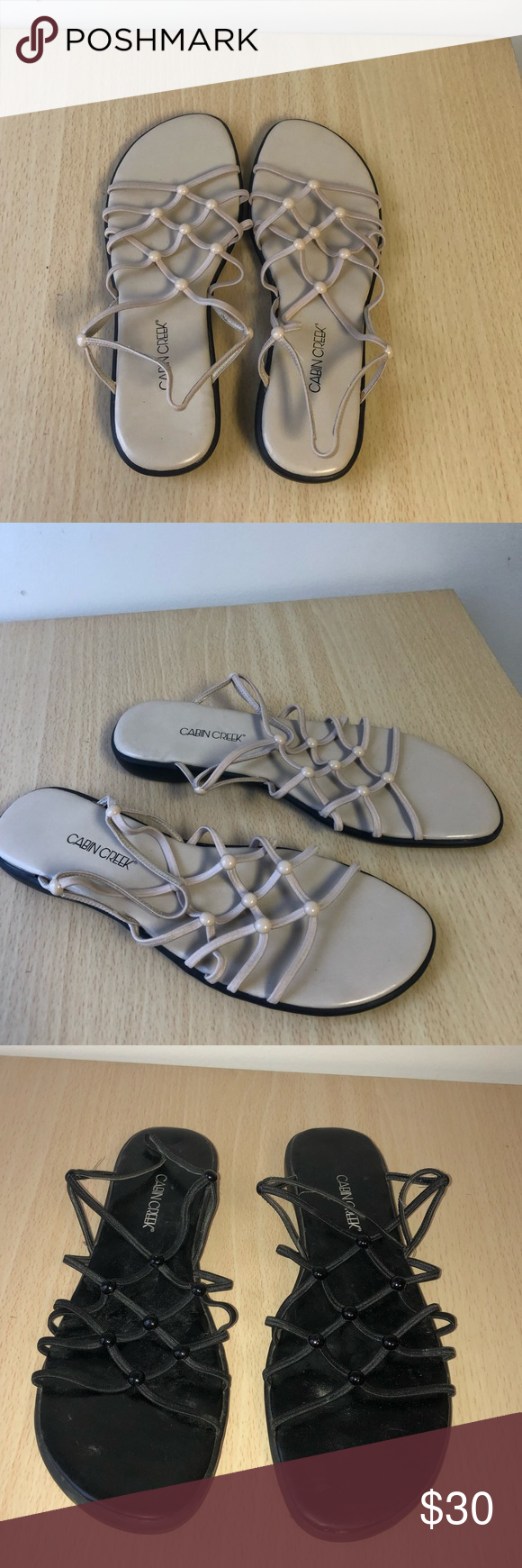 30ef36900255 BUNDLE OF 3–Cabin Creek Sandals Size 8 • Good amount of wear • Some  staining on the white pair • Super comfortable • Open to Offers💕 Cabin  Creek Shoes ...