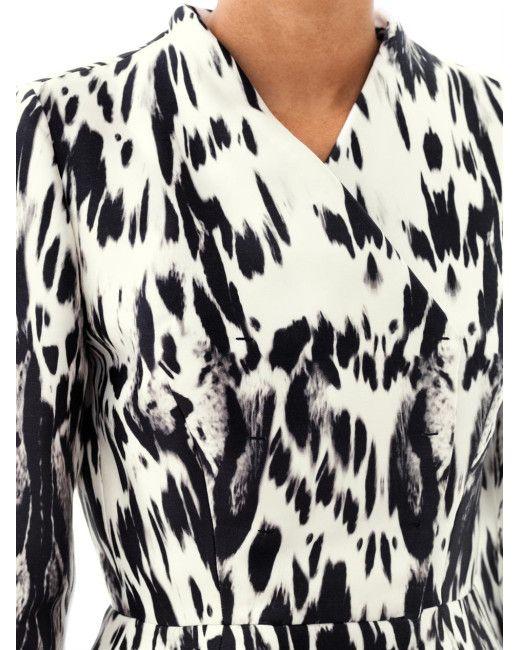Giambattista Valli Couture | Black Abstract Lynx Print Silk Peplum Jacket | Lyst