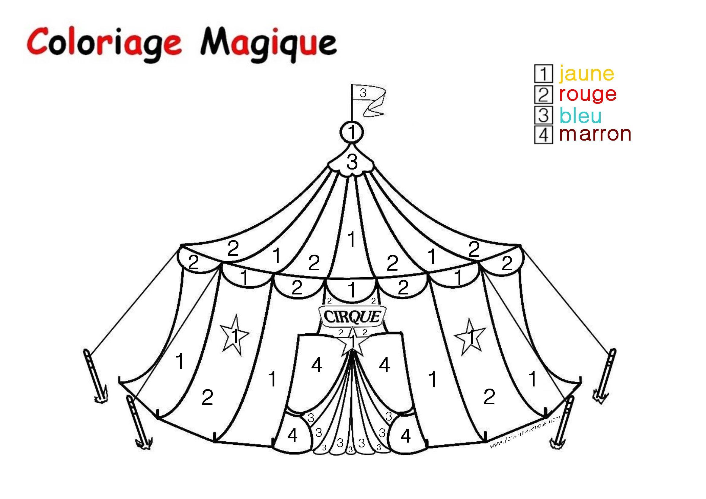 Coloriage Magique Cirque Gs.Coloriage Magique Pour Les Plus Petits Un Chapiteau Cirque