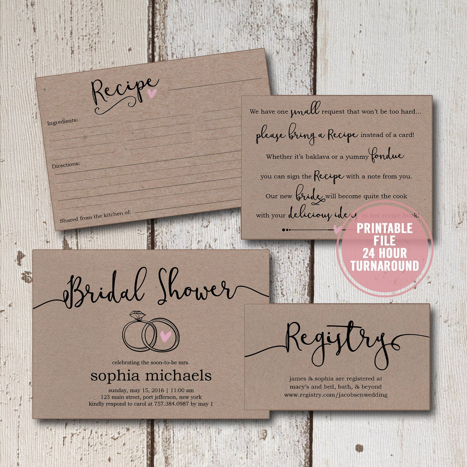 bridal shower invitation printable suite 4 pieces rustic bridal shower invitation bridal shower invitation inserts recipe cards