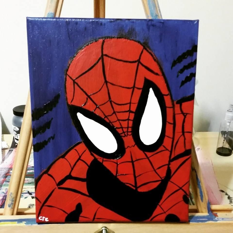 Spiderman 35 00 Acrylic On 12 X 16 Canvas Great Gift For Any Spidee Lovers Spiderman Canvas Art Spiderman Canvas Painting Avengers Painting