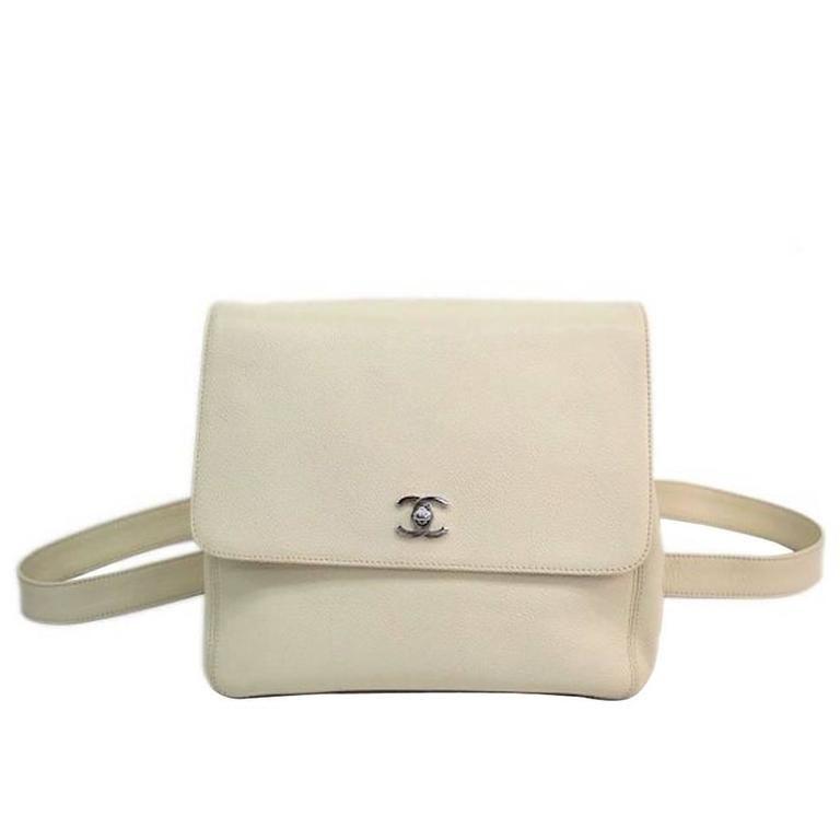 df2fcda17b20 Chanel Rare Cream Nude Caviar Leather Silver CC Hardware Backpack Bag 1