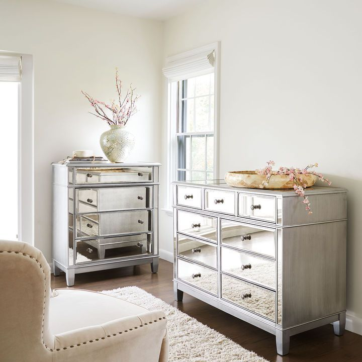 Pier 1 Imports Hayworth Mirrored Silver Chest U0026 Dresser Bedroom Set