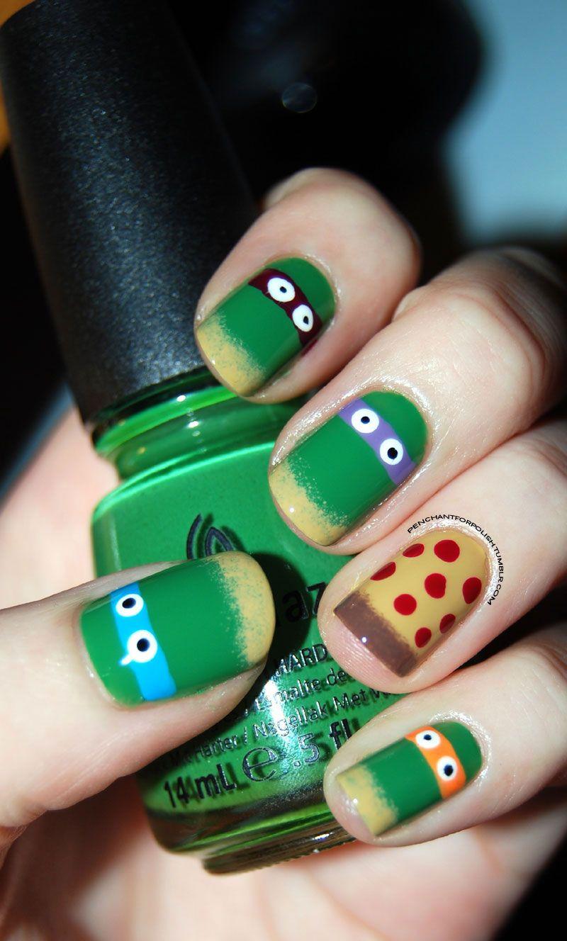 tmnt nail polish design | Nails. | Pinterest | Tortugas, Pintas y Gaby