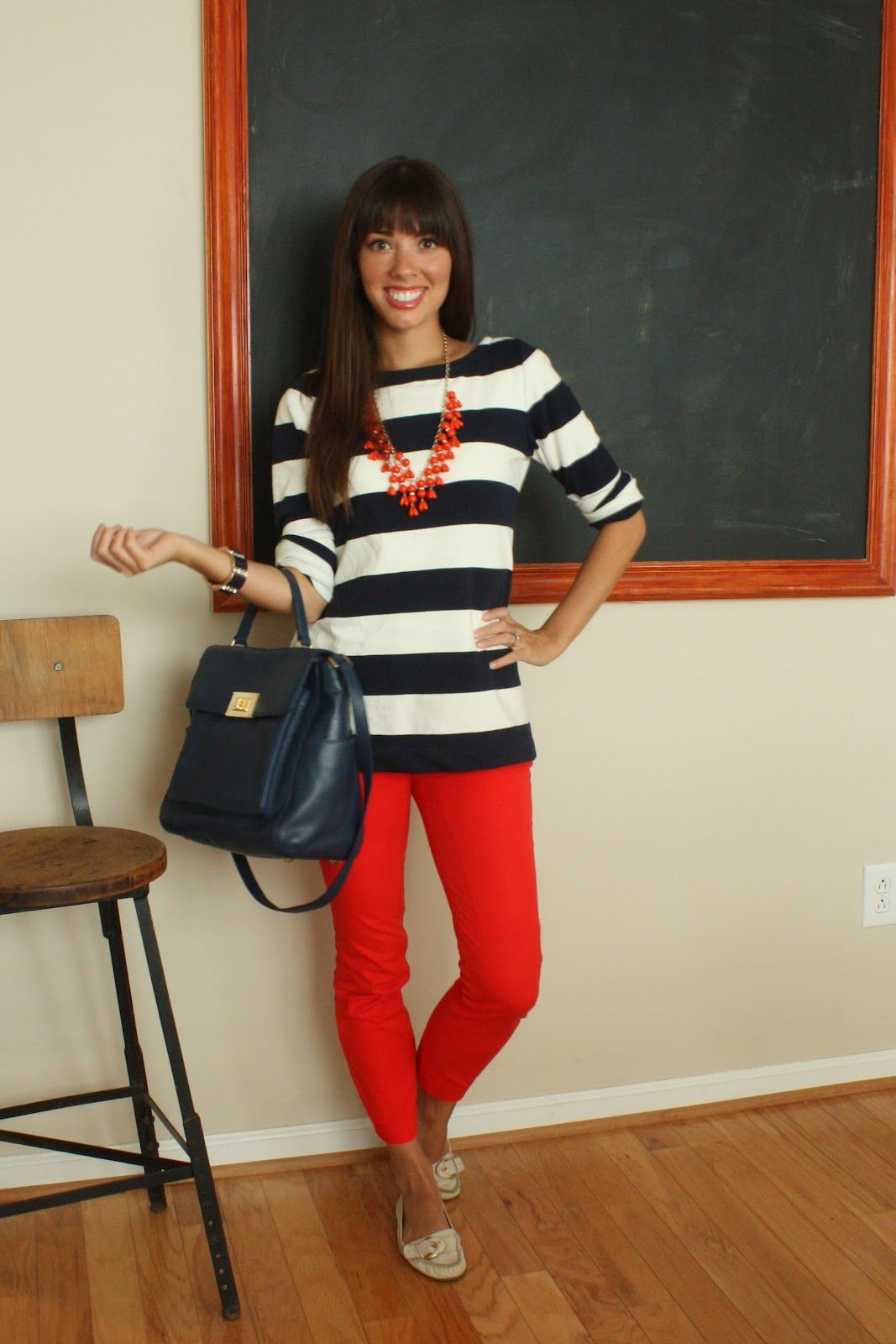 Perfect color combo ! Love the red pants with a navy and ...