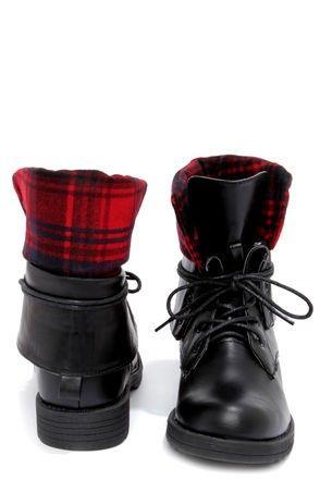 1000  images about Lace-up plaid combat boots on Pinterest