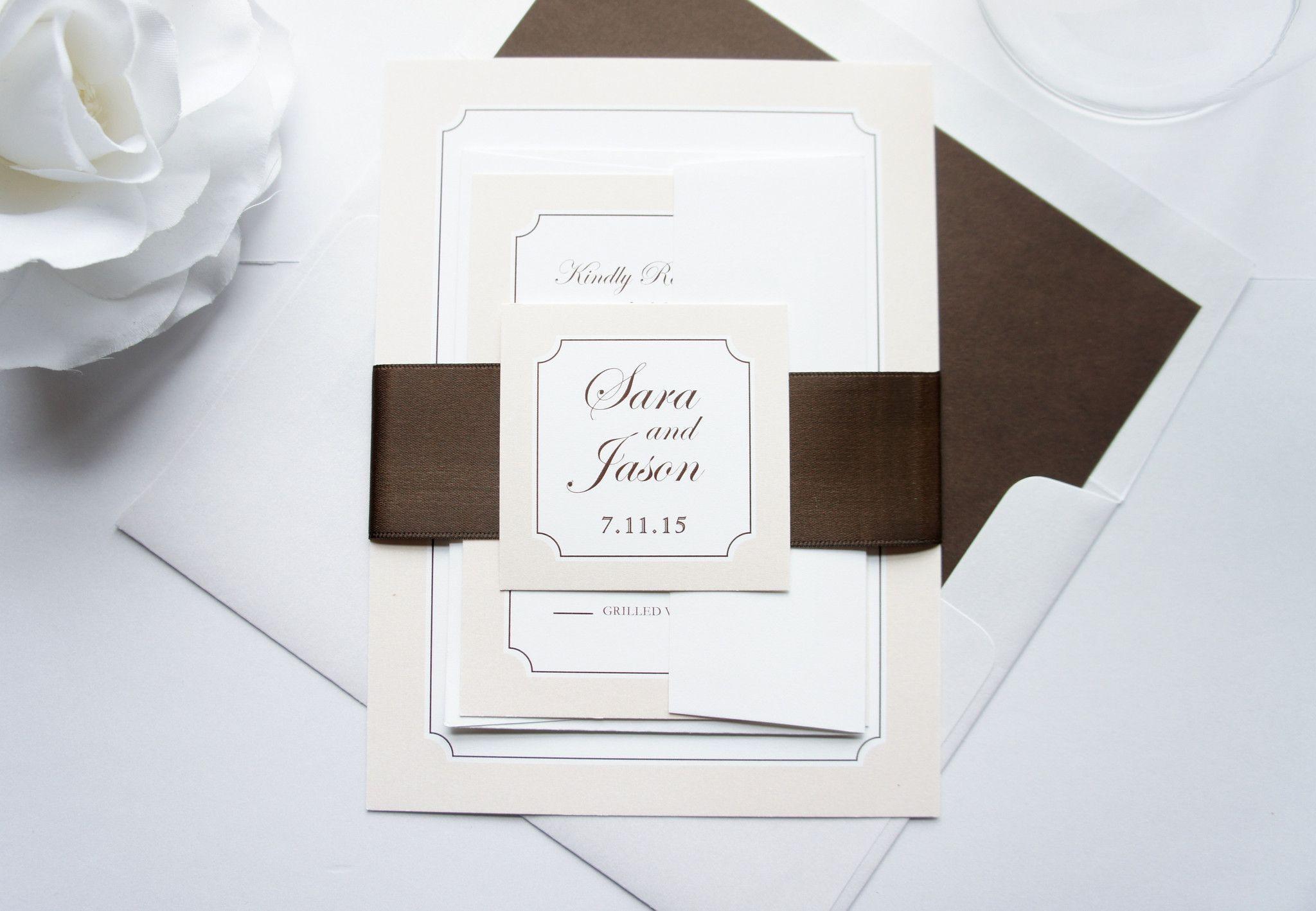 Brown Wedding Invitation, Monogram Wedding Invitation, Elegant ...
