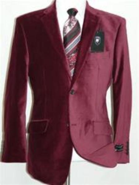 Men Modern Size One Large Formal Velour Button Velvet Jacket Blazer