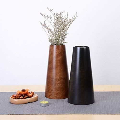 Photo of Mango Wood Tapered Barrel Tabletop Flower Vase