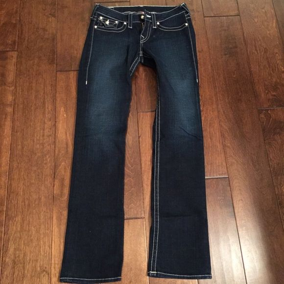 Dark boot cut jeans Dark denim jeans. Pearl button on the back pockets. Worn twice. Grrrreat condition. True Religion Jeans Boot Cut