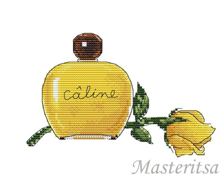 x point de croix parfum et rose jaune - cross stitch perfume and yellow rose