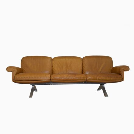 Cognacfarbenes Vintage DS 31 Drei-Sitzer Ledersofa von De Sede Jetzt - wohnzimmer orange beige