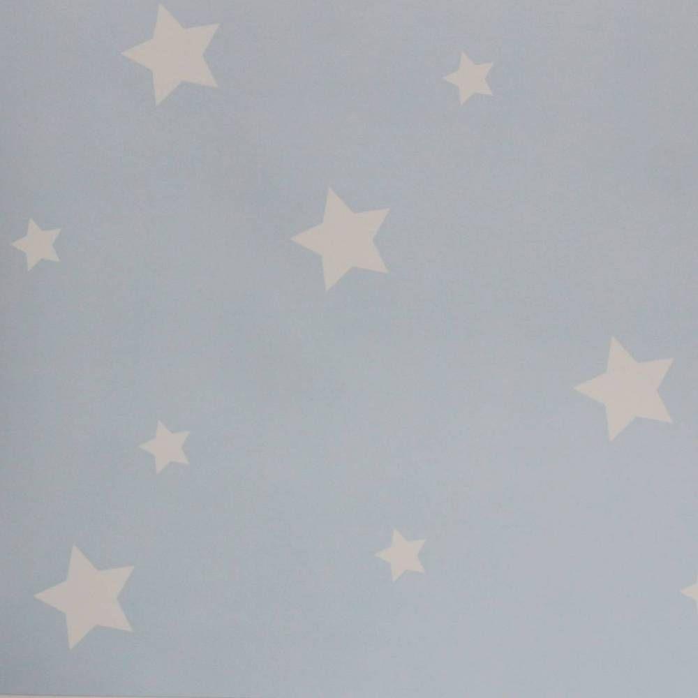 Papel de parede infantil céu e espaço estrela azul bebê 018