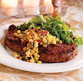 Chili-Rubbed Rib-Eye Steak with Corn & Green Chile Ragoût