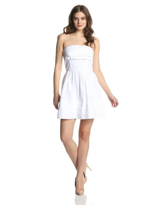 Short white dress, casual and very cute. Love the pleating on the bust and hem. Get it at whitepartydressonline.com!
