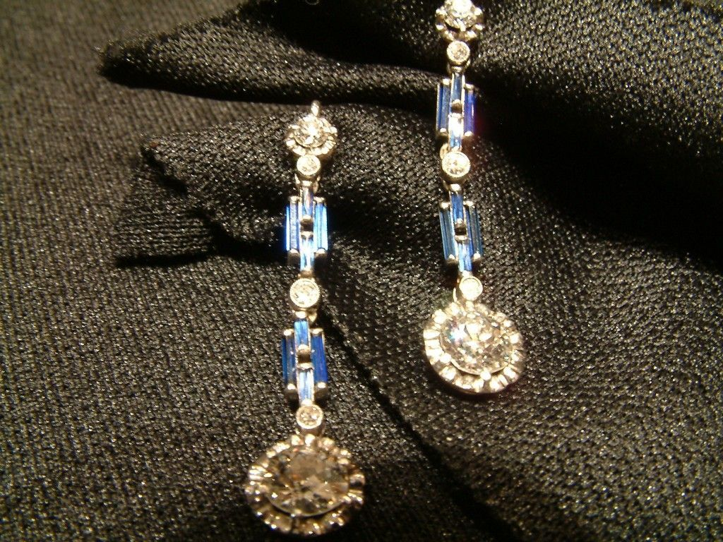Pendientes platino art deco diamantes zafiros