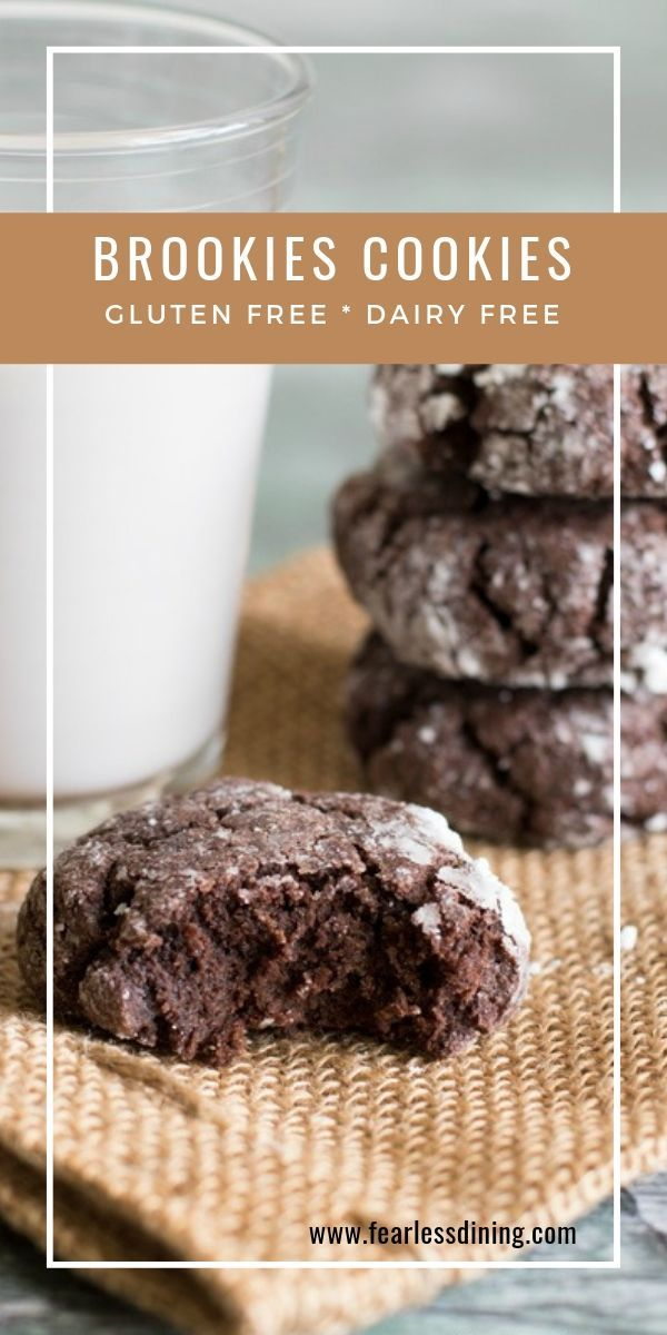 These soft chocolate gluten free brookies cookies are a cross between a cookie and a brownie. Delicious chocolate flavor, they have a crinkle cookie topping. Easy to make and bake for a gluten free dessert or snack. fearlessdining #glutenfreecookies #brookies #chocolatecookies