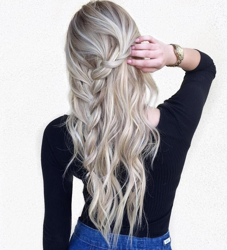 long hairstyles and haircuts for fine hair braided half updo