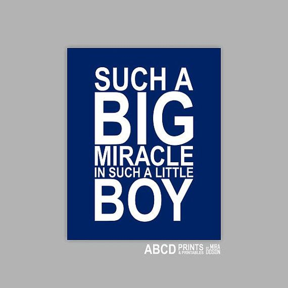 Baby Boy Nursery quote print Such a big miracle in such a little boy 8x10 Navy on Etsy, $12.00