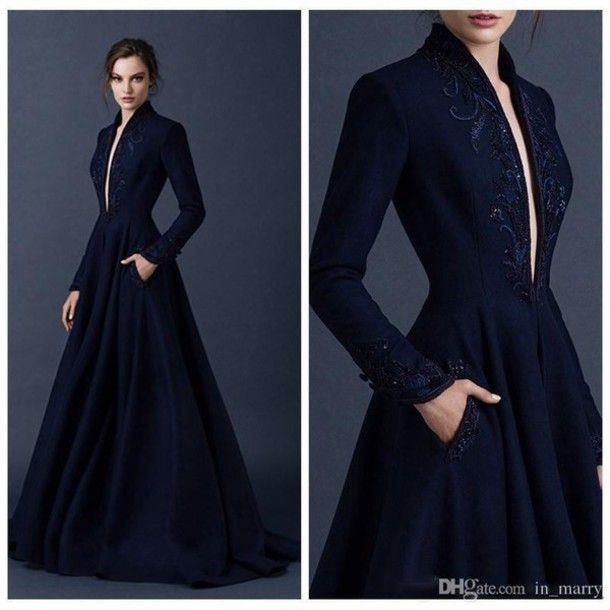 720bb64d6 Dress: paolo sebastian, navy blue evening dress, long sleeves evening  dresses, satin