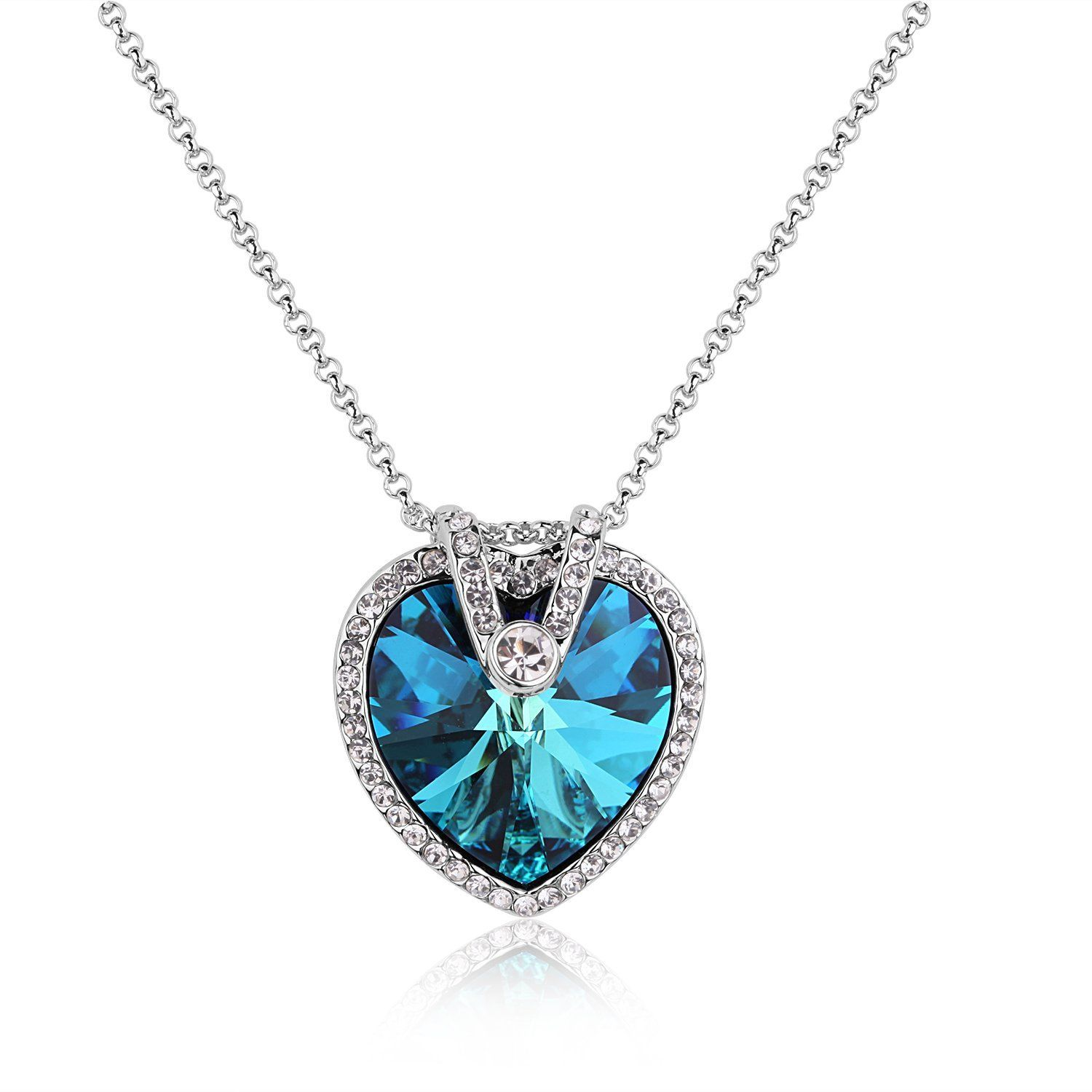 Heart Necklace, Blue Crystal Diamond Pendant Necklaces for