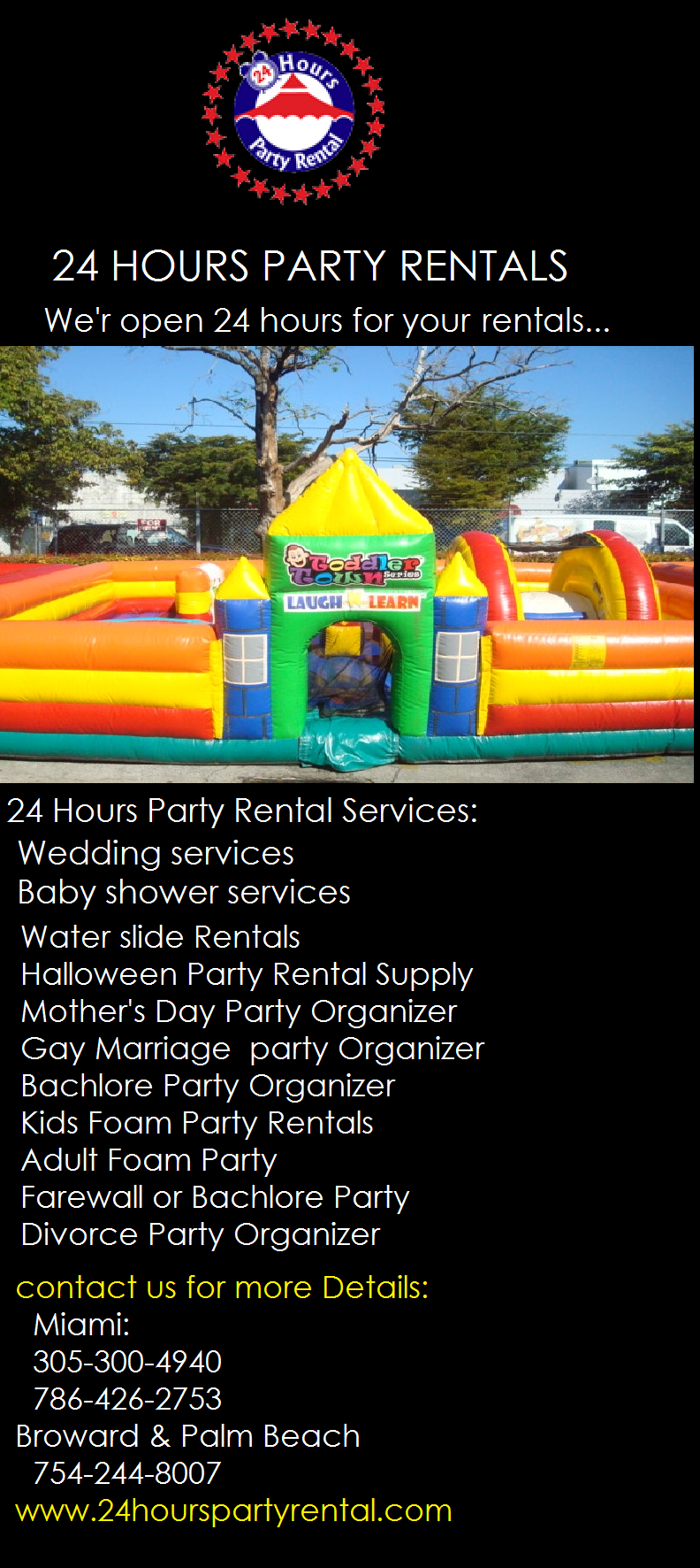 24 Hours Party Rental Provides Various Type Of Party Rentals Like Wedding Rentals Bounce Houses Interact Party Rentals Party Rental Supplies Organization Kids