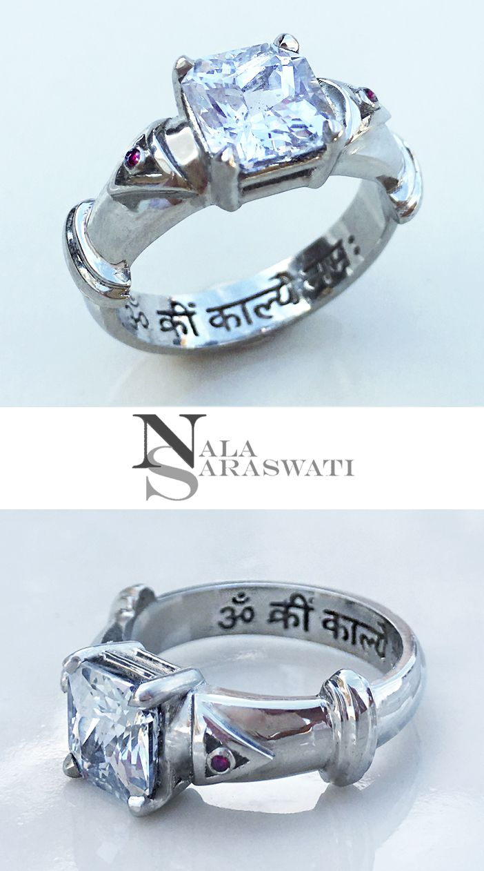 Custom 18k gold ring by nala saraswati this white sapphire is set this white sapphire is set to make skin contact with the intention of strengthening the beneficial influences of venus in my clients vedic astrology chart nvjuhfo Choice Image