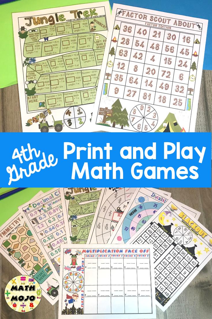 4th Grade Math Games 4th Grade Print And Play Math Games And