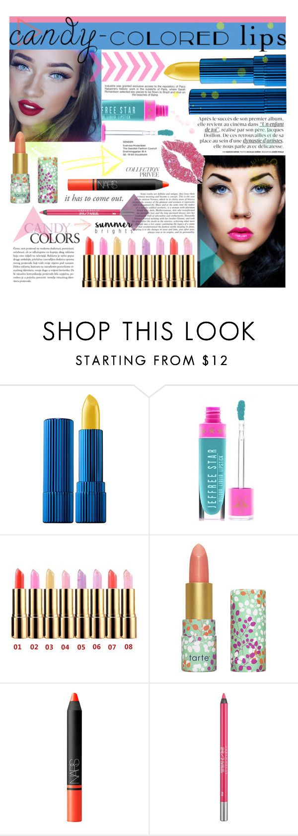 """Candy Colored Lips"" by kdesotell ❤ liked on Polyvore featuring beauty, Estée Lauder, Jeffree Star, tarte, Industrie, NARS Cosmetics, By Terry and Urban Decay"