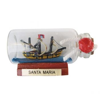 Maritmes Buddelschiff-Flaschenschiff der berühmten Santa Maria als schöne Geschenkidee und für Sammler.   KEINE VERSANDKOSTEN INNERHALB DEUTSCHLANDS!!   Bei Bestellung 1 Stück= 1VE a 5 Stück