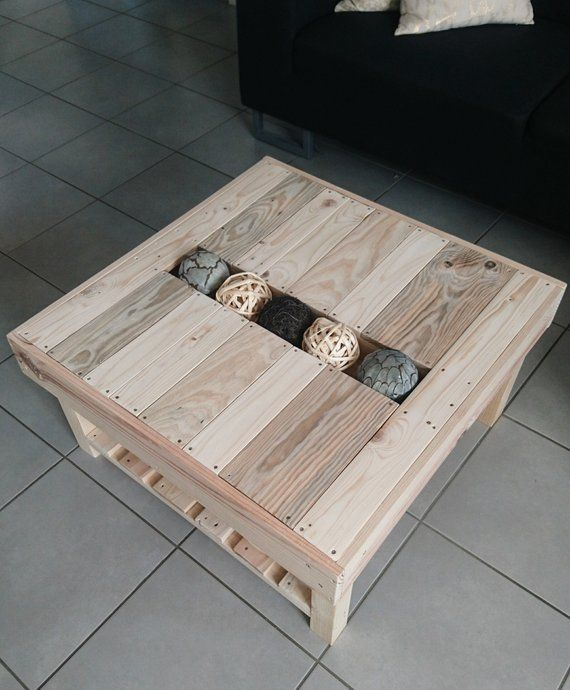 Coffee table made of recycled wood with Central tray for decoration