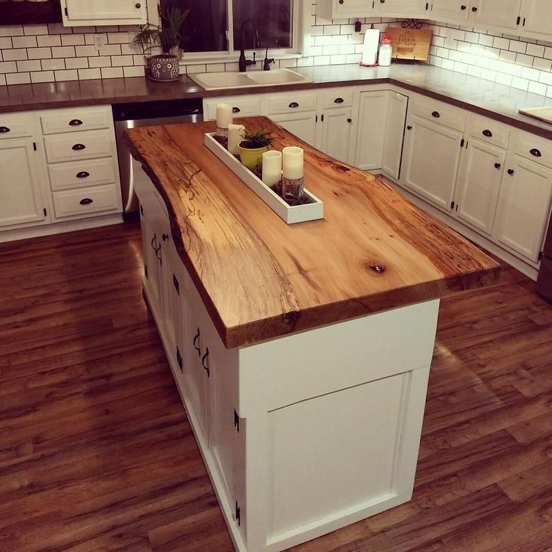 Live Edge Kitchen Island Etsy In 2020 Kitchens Live Edge Rustic Kitchen Outdoor Kitchen Countertops
