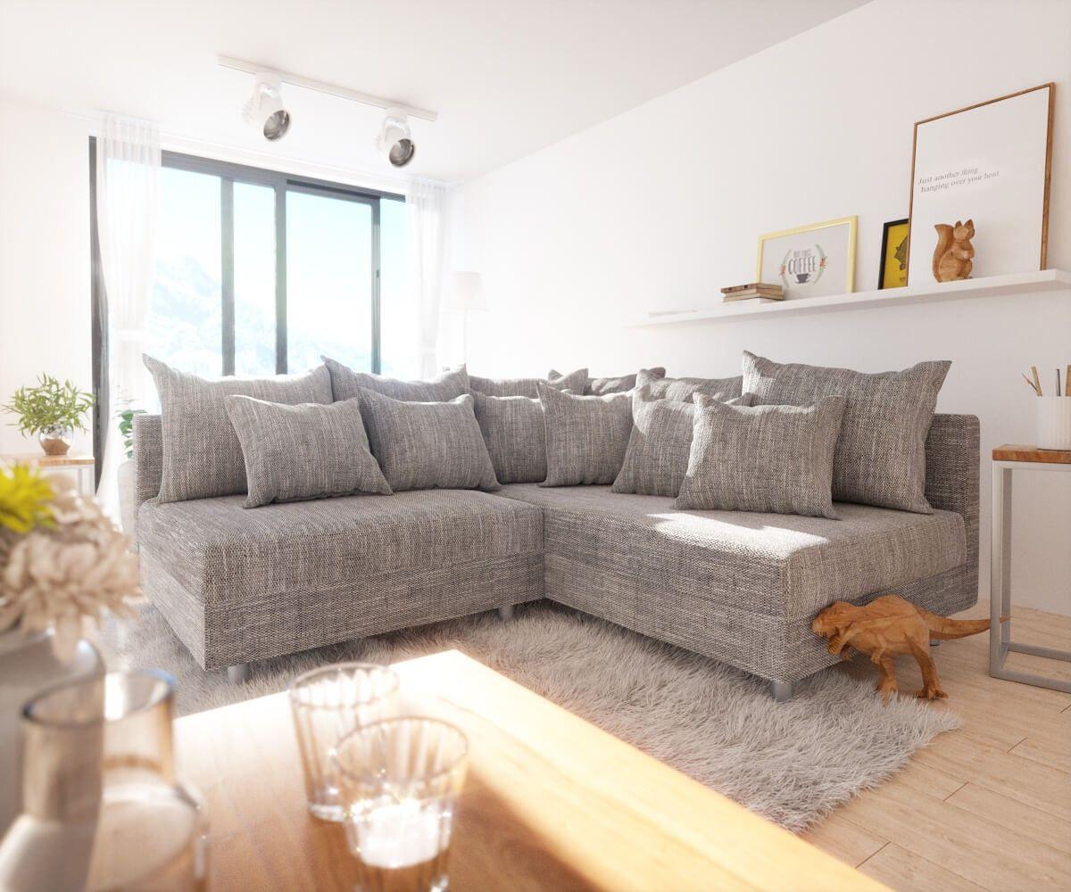 ecksofa clovis hellgrau strukturstoff ottomane rechts modulsofa clovis die kuschelcouch zum. Black Bedroom Furniture Sets. Home Design Ideas