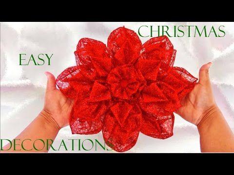 Como Hacer Flores Navideñas How To Make Christmas Bows Cómo Hacer Moños Navideños Como Hacer Flores Flor Navideña