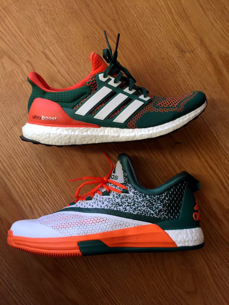 premium selection 55305 7bf8c miami-hurricanes-adidas-ultra-boost-crazylight-boost-2 -2