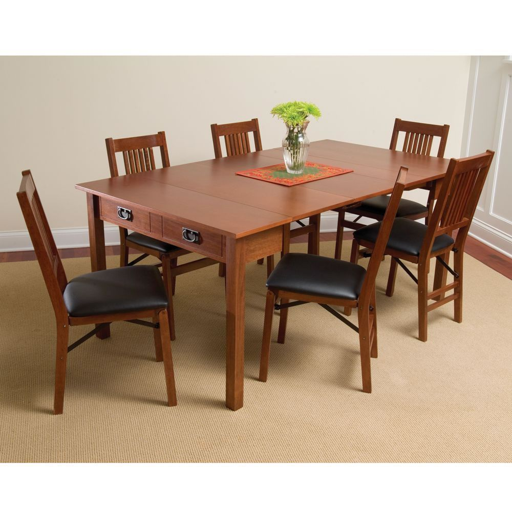 Small round kitchen table  The Mission Style Console to Card to Dinner Table  Hammacher