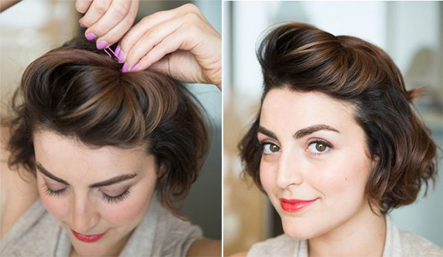 10 Minute Dos 12 Quick Ways To Style Short Hair Pinup Hair Short Short Hair Styles Thick Hair Styles
