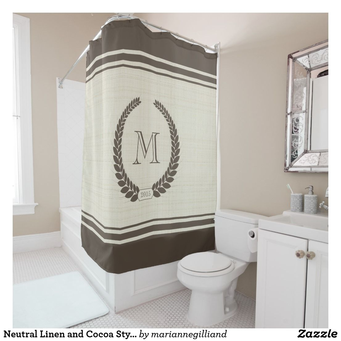 Neutral Linen and Cocoa Style Fancy Monogram Shower Curtain ...