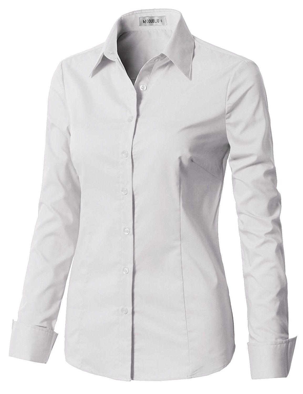 Women S Basic Long Sleeve Slim Fit Button Down Shirt Cwtstl071 White Cv18c7402od Basic Long Sleeve Simple Shirts Women S Button Down Shirt [ 1500 x 1153 Pixel ]