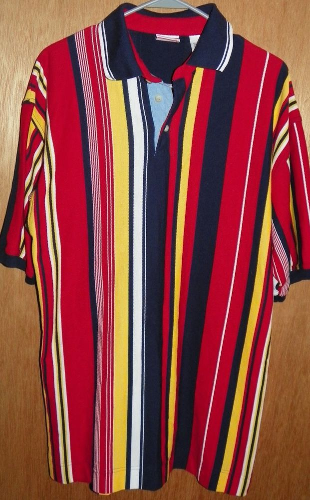 5fd5984d0 Vintage Bugle Boy Mens Striped Polo Shirt Size Large Red Yellow Blue White  | Clothing, Shoes & Accessories, Men's Clothing, Casual Shirts | eBay!