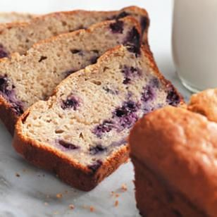 Banana-Blueberry Buttermilk Bread-- The slight acidity of buttermilk tenderizes and moistens baked goods while allowing you to cut way back on butter or oils. Here, it also lends a slight tanginess to the winning combination of bananas and blueberries. To make muffins instead, see Muffin Variation. #snacktime @EatingWell