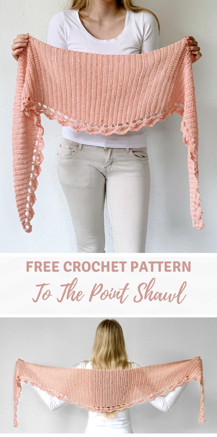 Circular crochet shawl pattern by Wilmade: To The Point Shawl (FREE) #shawlcrochetpattern