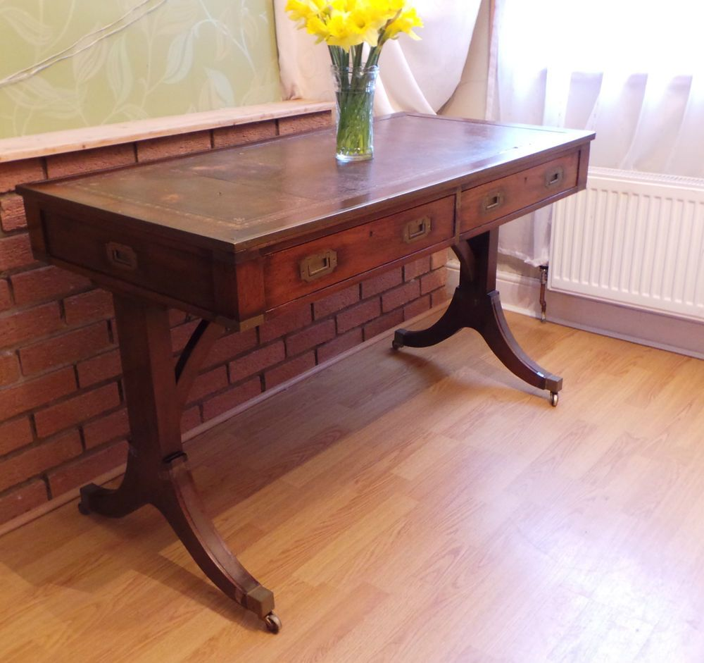 Brown Leather Top Military Mahogany Writing Desk